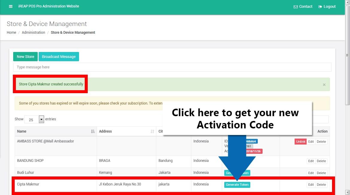 Activation Code in iREAP POS PRO