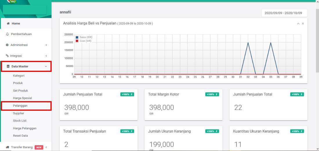Menu Data Master Pelanggan Aplikasi POS Android iREAP POS PRO melalui Web Admin