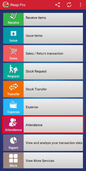 Step 3 Choose Attendace Menu iREAP POS PRO - record attendance in IREAP POS Pro