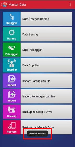 Berhasil backup data aplikasi kasir iREAP POS LITE ke Google Drive