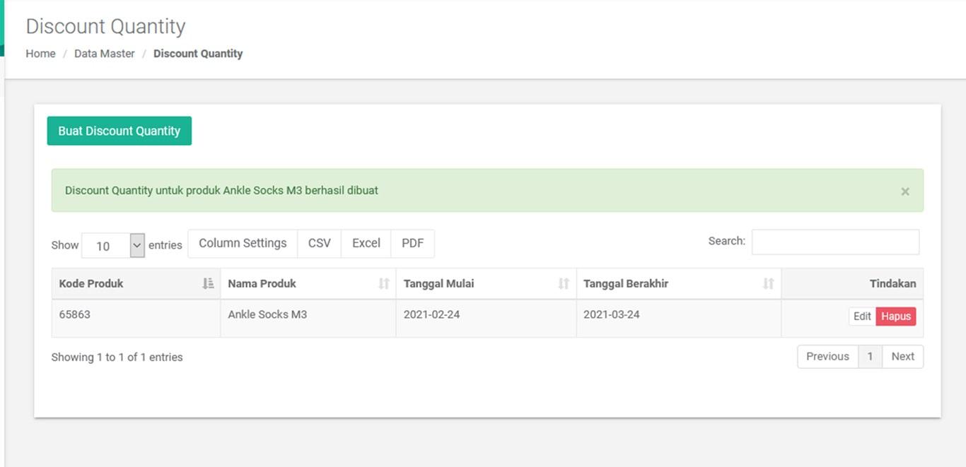 Berhasil Melakukan Pembuatan Discount Quantity Pada Aplikasi Kasir iREAP POS PRO Web Admin