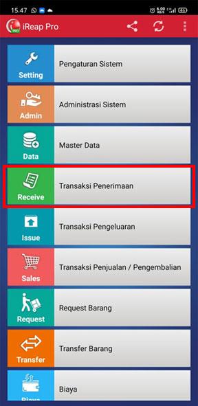 Buka menu Transaksi Penerimaan aplikasi iREAP Pos Pro untuk load stock list penerimaan barang baru