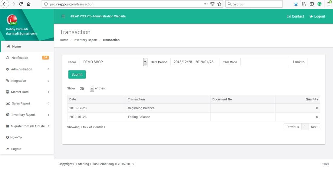 iREAP POS checking correction cancellation transaction
