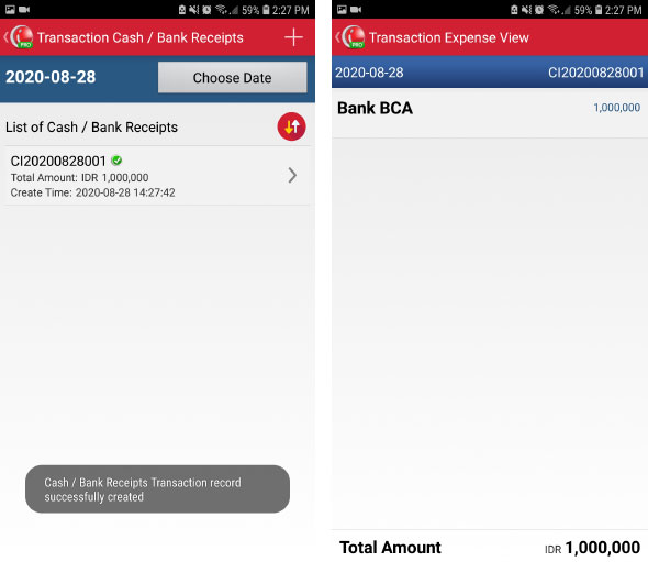 Cash/Bank receipts transaction on mobile pos android iREAP Pro