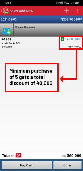 Check Minimum Discount Quantity in Sales Transaction Mobile Cashier iREAP POS PRO