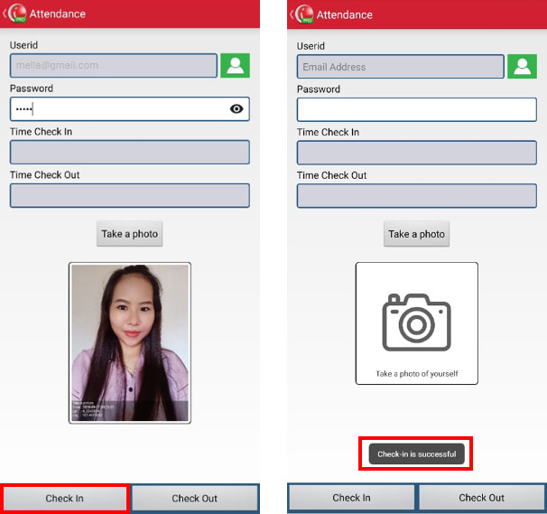 Step 6 Select Check in to Check in Record Attendace in iREAP POS PRO