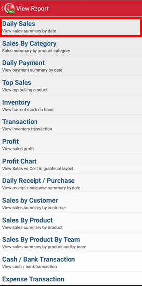 Choose daily sales to view sales summary by date on mobile cashier iREAP POS PRO