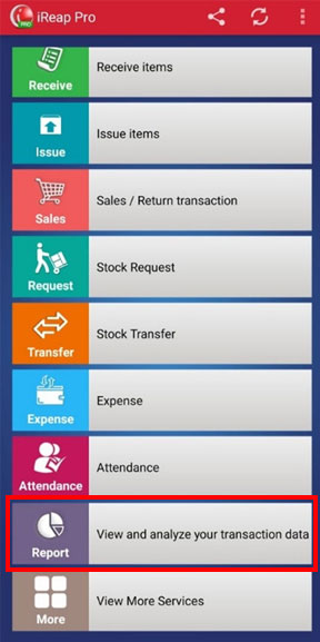 Choose report menu to view transaction reports on mobile cashier pos iREAP PRO