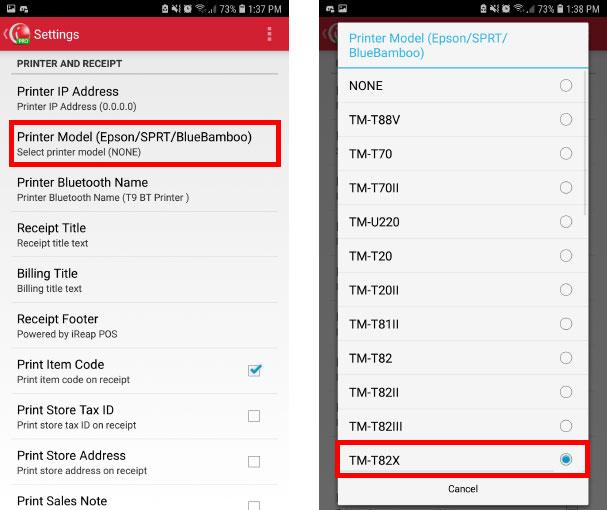 Choose wifi/lan printer model Epson TM-T82X on Cashier Mobile App iREAP