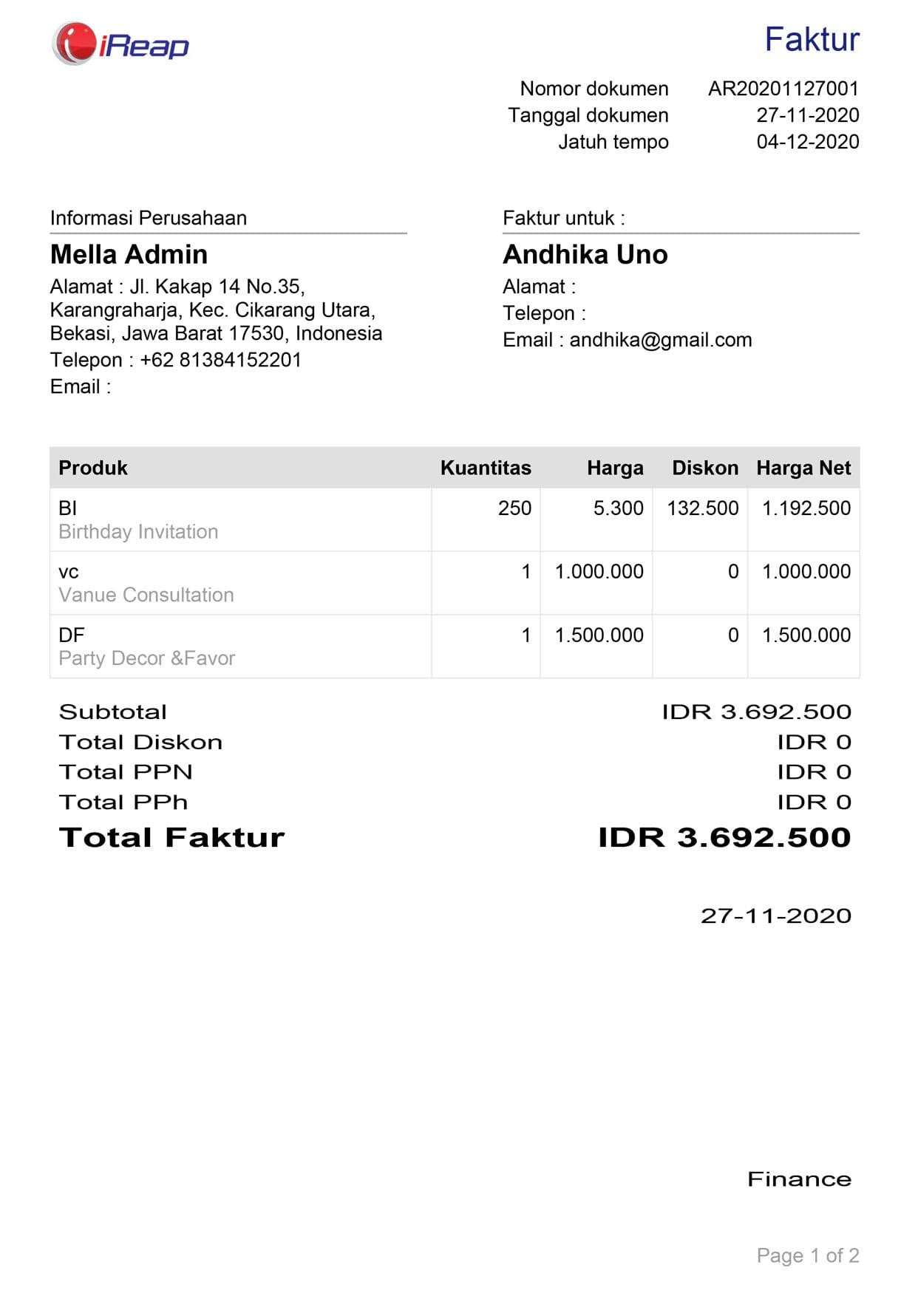 Contoh Hasil Print Faktur Penjualan Menggunakan iREAP Invoice