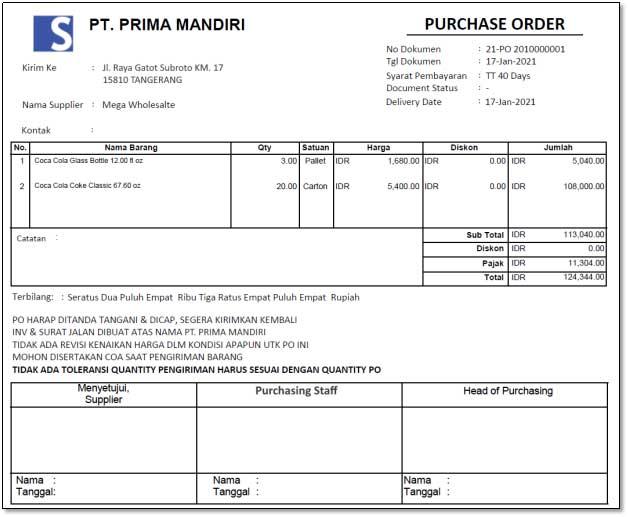 contoh purchase order perusahaan
