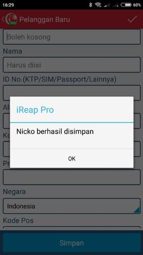 Data Pelanggan yang telah berhasil di simpan iREAP POS PRO (Via Mobile)