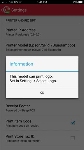 iREAP POS Print Receipt Support Customize Logo