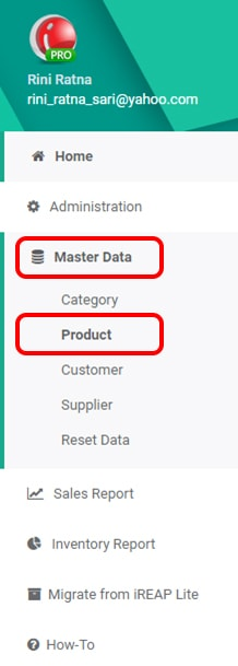 iREAP POS Master Data Menu
