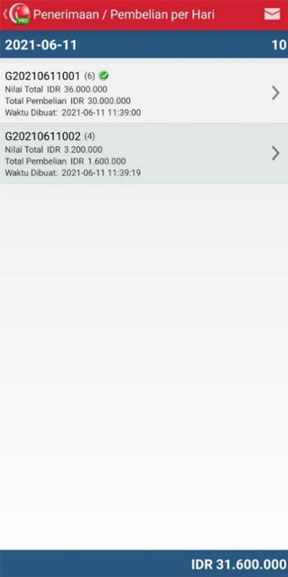 Detail laporan Penerimaan/Pembelian Per hari pada aplikasi kasir iREAP POS PRO