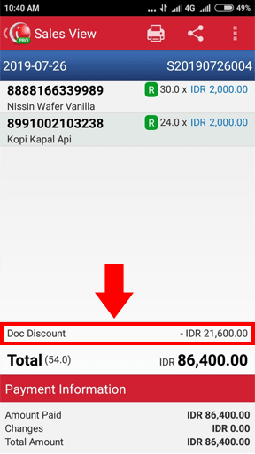 Sales Detail of Transaction iREAP POS PRO