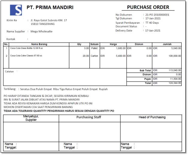 example of a company purchase order