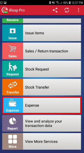 Expense menu mobile cashier android iREAP POS Pro