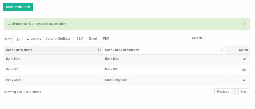 Finish create new cash bank in web admin Mobile POS Android iREAP Pro