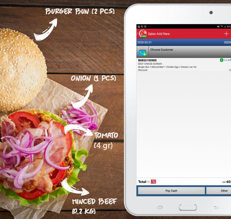 Mobile Cashier Android Support Recipe or Product Set iREAP POS PRO