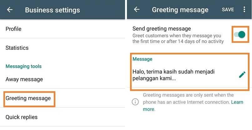 greeting message adalah
