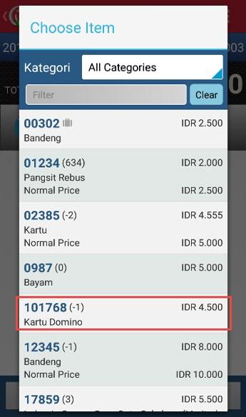 Make Stock Request Transaction step 5 - Choose Item iREAP POS