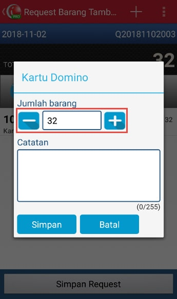 Make Stock Request Transaction step 6 - Tap Line Item to Change The Quantity