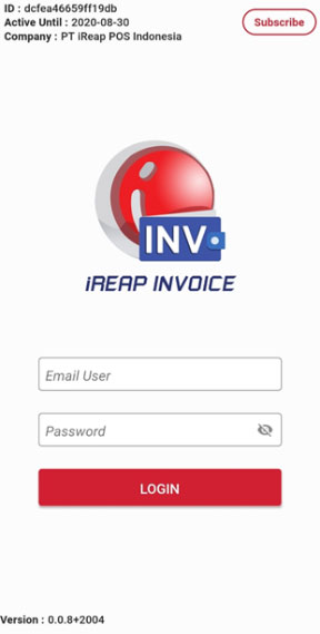 Login into iReap Invoice in your Device