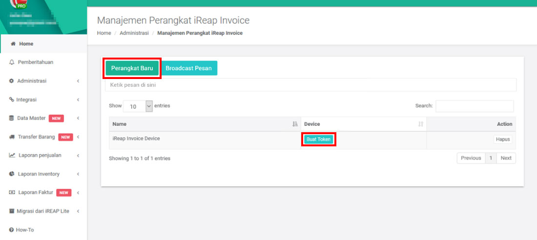 Generate Token - iREAP POS Pro