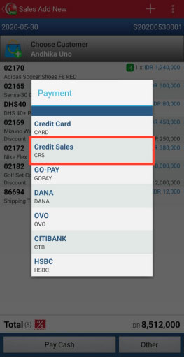 There will appear any Pay Method that already made. One of them is Credit Sales