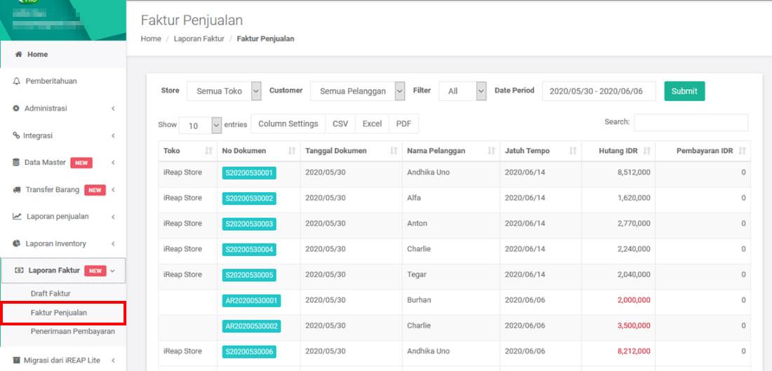 Faktur Penjualan di iREAP POS PRO - iREAP Invoice