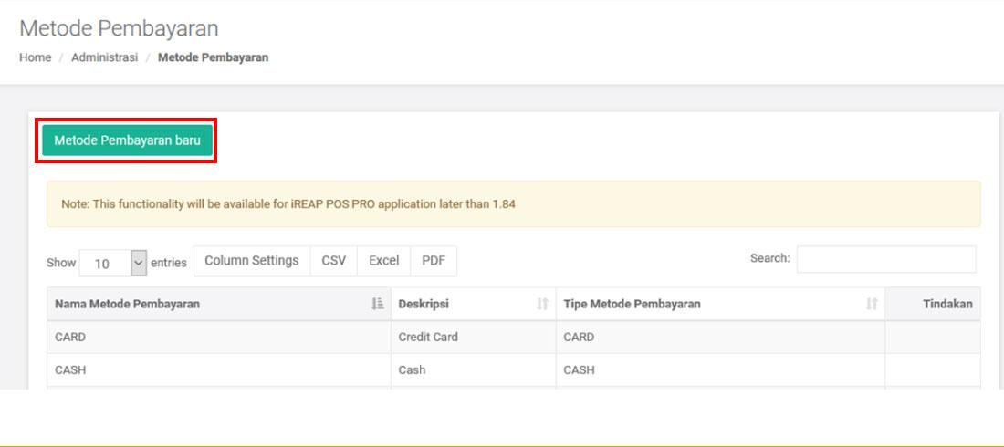 Metode Pembayaran Baru - iREAP Invoice