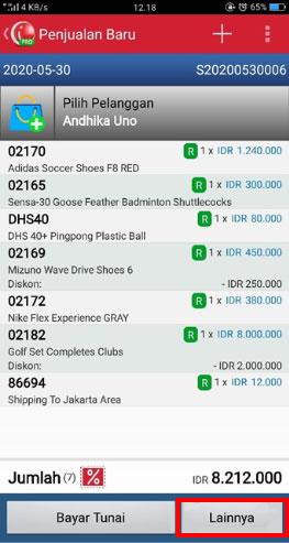 Transaksi Penjualan iREAP POS Pro Pilih Lainnya Untuk Memilih Pembayaran
