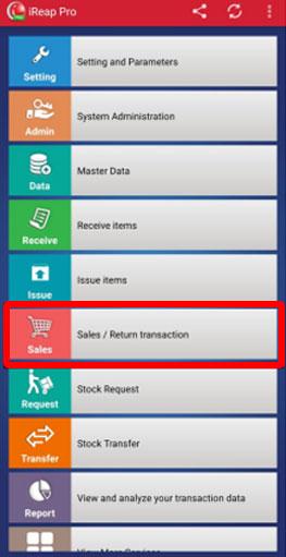 Select Menu Sales Transaction