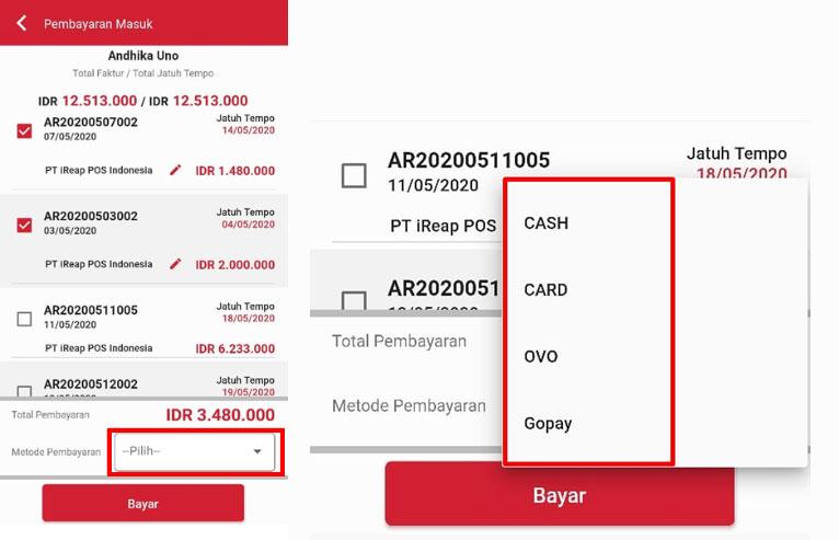 Pilih Metode Pembayaran - iREAP Invoice