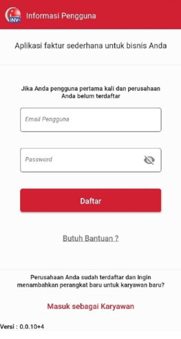 Langkah 3 Pada halaman Registrasi Informasi Pengguna, masukkan Email dan Password - iREAP Invoice