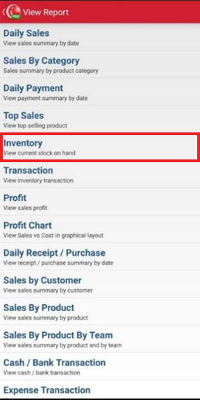 Inventory Report menu in Mobile Cashier iREAP POS PRO