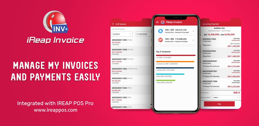 iREAP Invoice Manage Invoices & Payment Mobile Android