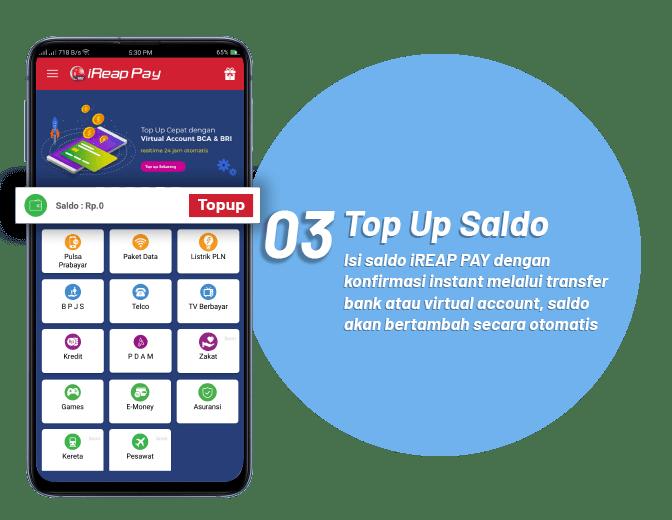 Langkah Ketiga Menggunakan iREAP PAY Peluang Usaha Loket Resmi Pembayaran Online PPOB - Top Up Saldo Untuk Melakukan Transaksi Pembayaran