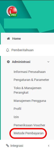 Administration Menu Metode Pembayaran