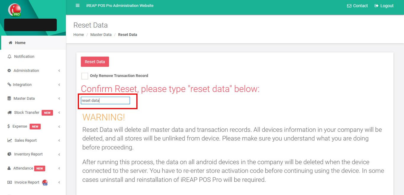 iREAP POS Pro Delete All Master Data - Reset Master Data