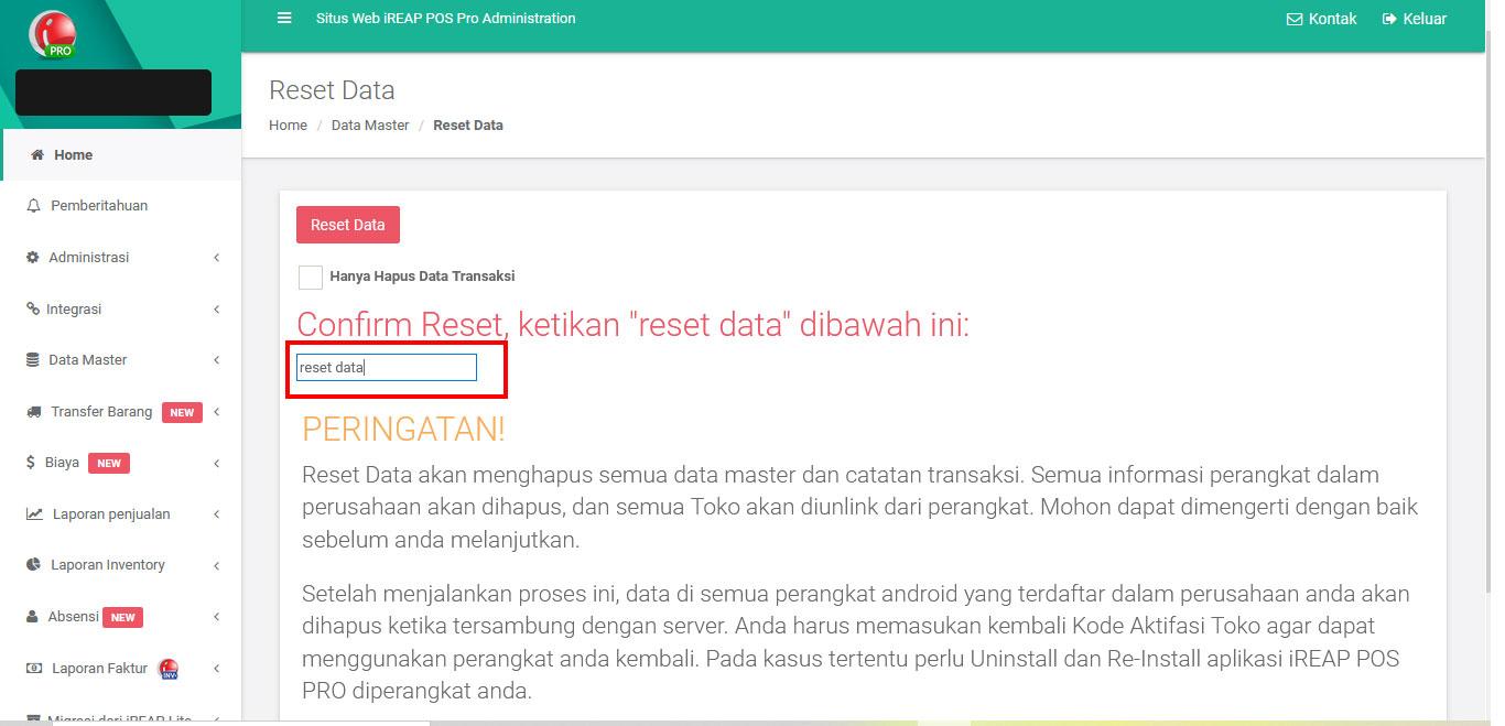 Reset Master Data di iREAP POS PRO