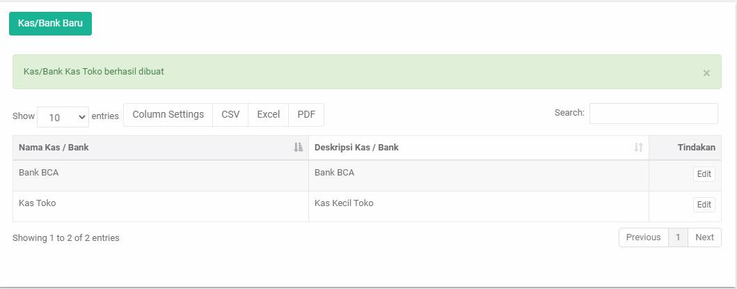 kas/bank baru sudah berhasil dibuat web admin aplikasi pos mobile android ireap pos pro