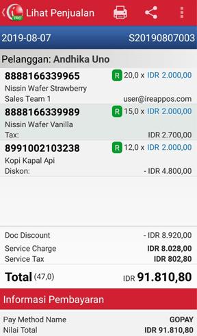 Kasir Toko Mobile iREAP POS Melihat Penjualan
