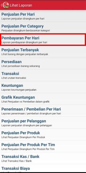 Laporan pembayaran per hari pada aplikasi kasir iREAP POS PRO