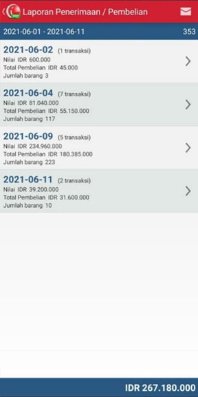 Laporan Penerimaan/Pembelian pada aplikasi kasir pintar iREAP POS PRO