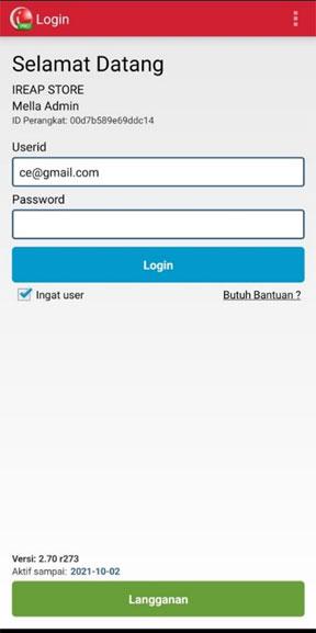 Login iREAP POS PRO Via Mobile Untuk Melihat Laporan Pembayaran Per Hari