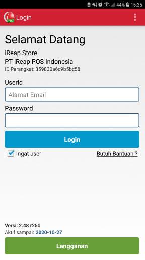 Login ke Aplikasi POS Mobile Android iREAP Pro