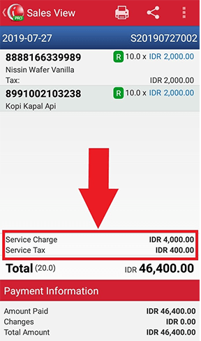 Service Charge and Service Tax that you choose is already suitable with the transaction in iREAP POS PRO