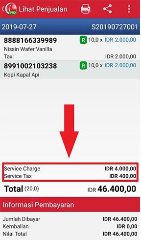 Service Charge dan service tax di Rincian Transaksi Penjualan